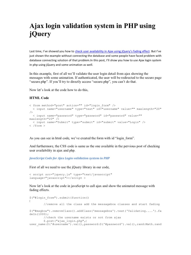 jQuery & PHP] Ajax Login Validation System in PHP Using jQuery | J