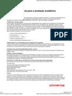 Cinco dicas práticas para a produção acadêmica
