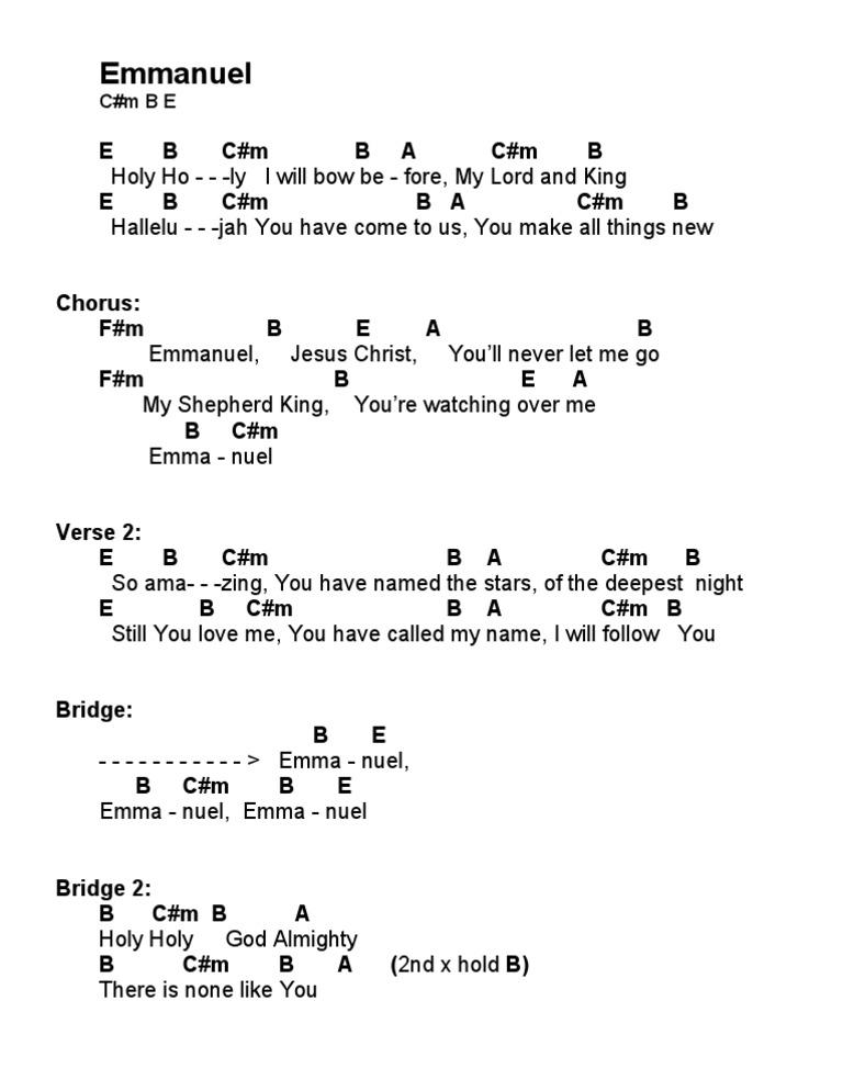 Emmanuel Hillsong Chords