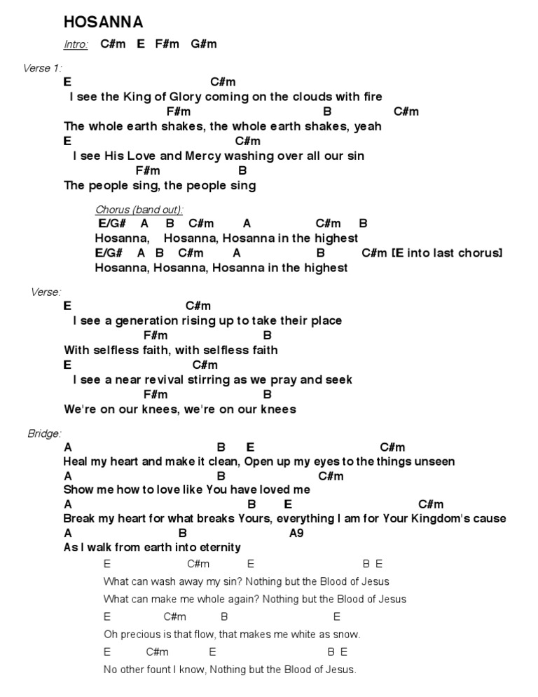 Hosanna Hillsong Chords