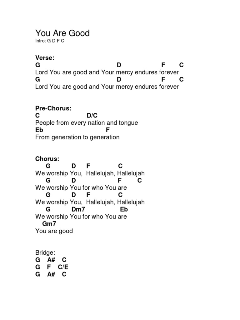 Lord you are good chords hexwebz Image collections