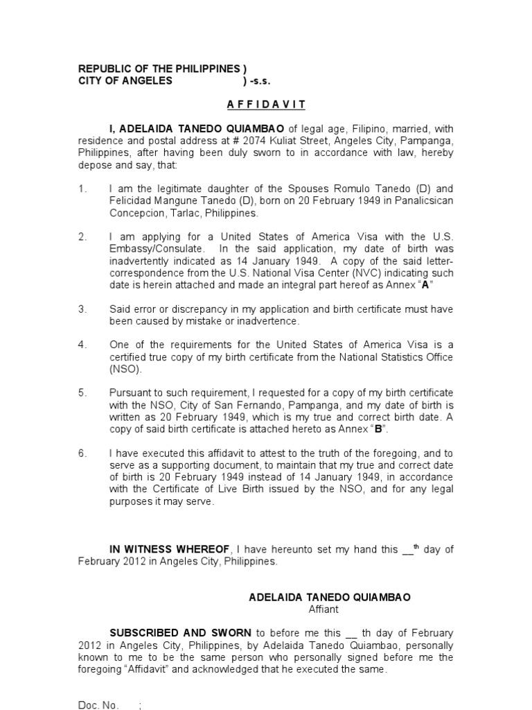 Affidavit Of Discrepancy Date Of Birth Quiambao Adelaida