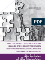 Effective Political Participation of the Small(er) Ethnic Communities in Local Self-Government in Macedonia after the Ohrid Framework Agreement