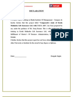 Comparative Study of Kotak Life Insurance