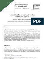 Biber D Barbieri F Lexical Bundles in University Spoken and Written Registers ESP