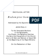 (Pope John Paul II - Encyclical) 1979 1. Redemptor Hominis (on Redemption and Dignity of the Human Race), Mar. 4