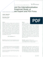 AGARWAL e FEILS Political Risk and the Inter Nationalization of Firms an Empirical Study of Canadian-Based Export and FDI Firms