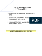 Administration Budget Motion 2012/13