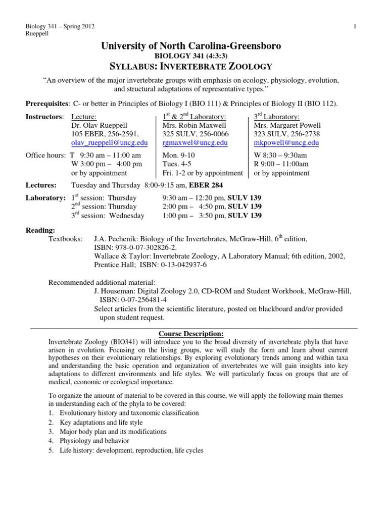 2012 bio 341 syllabus taxonomy biology zoology rh es scribd com