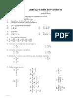 Autoevaluación de fracciones 1º ESO