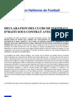 Déclaration des clubs de FootBall d'Haïti sous contrat avec Digicel