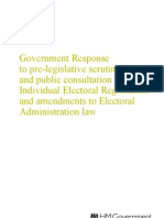 Government Response to Pre-legislative Scrutiny and Public Consultation on Individual Electoral Registration and Amendments to Electoral Administration Law