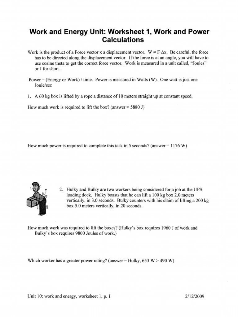 Work Energy Worksheet Packet | Potential Energy | Kinetic Energy