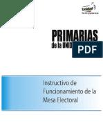 Instructivo de Funcionamiento de la Mesa Electoral
