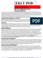 FRO WEEKLY PLAN OF THE DAY, THE WEEK OF 6 FEBRUARY 2012