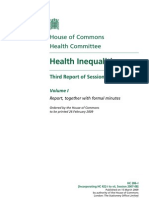Health Inequalities in England Third Report of Session 2008–09