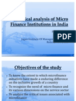 A CRITICAL ANALYSIS OF MICROFINANCE INSTITUTIONS IN INDIA