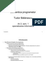 Semantica Programelor An II, Sem I, 2007-2008