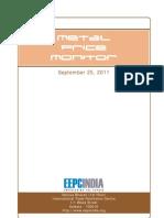 September 2011 Metal Price Monitor