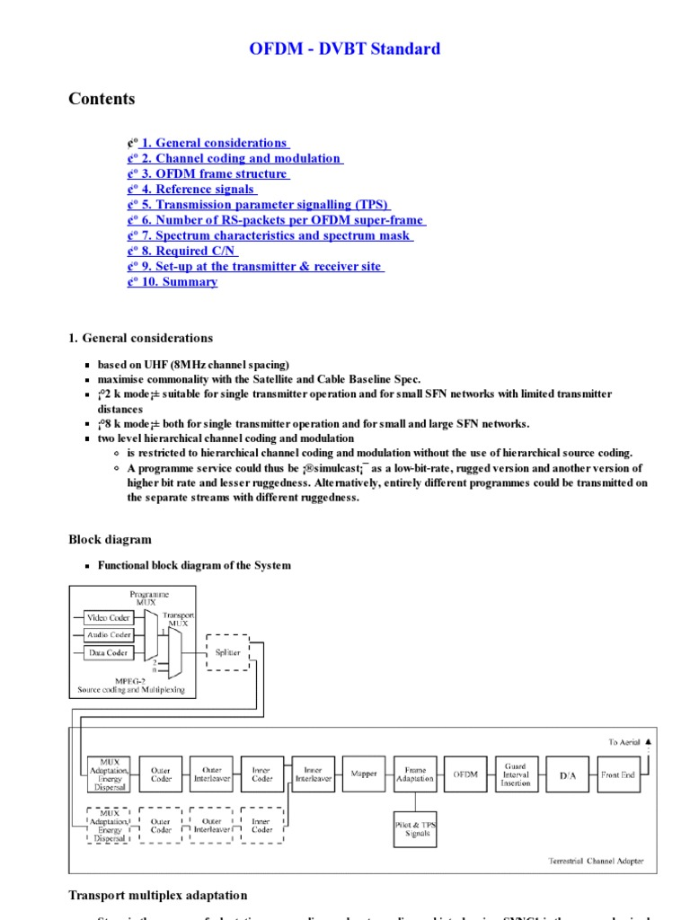 Ofdm Dvbt Standard Orthogonal Frequency Division Multiplexing Mpeg 2 Block Diagram Modulation