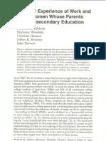 Women Whose Parents Lack Post Secondary Education