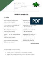 Ficha de Avaliação - Texto Poético