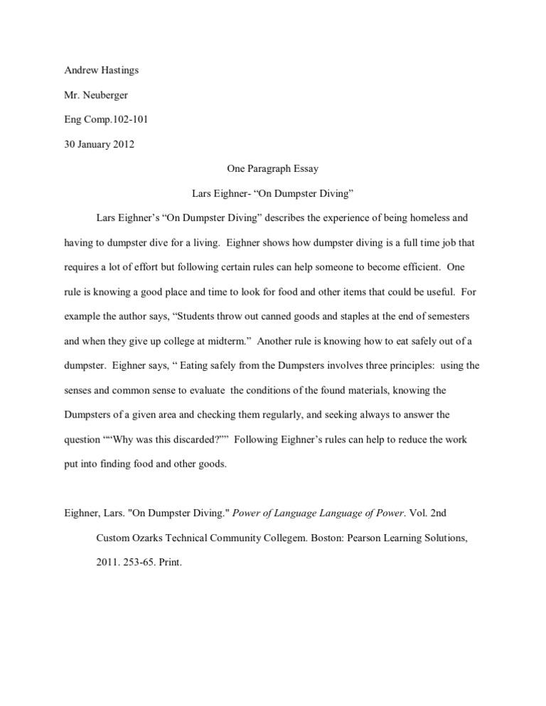 lars eighner dumpster diving essay summary