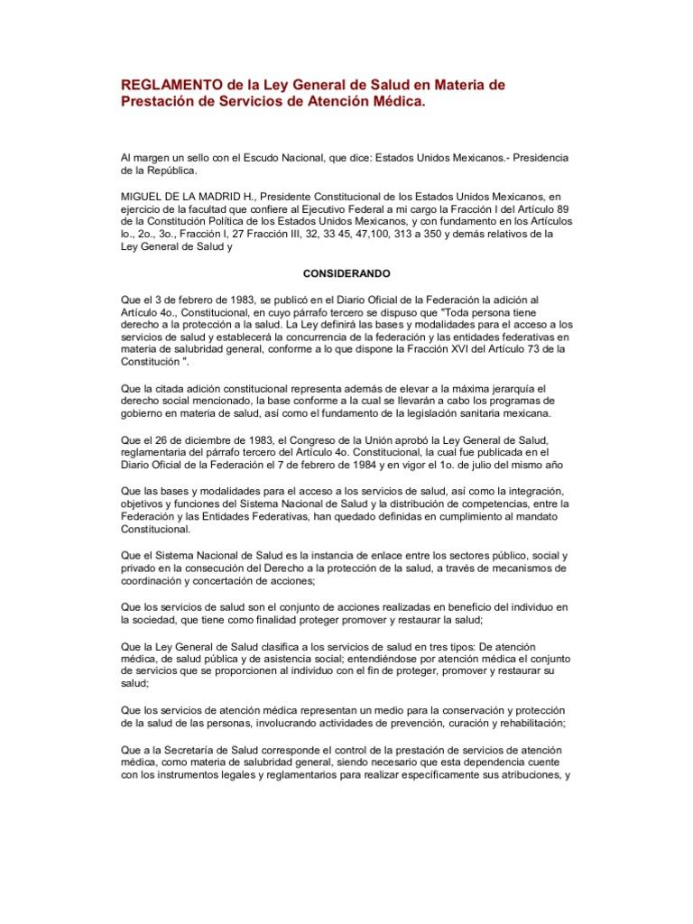 REGLAMENTO de la Ley General de Salud en Materia de Prestación de ...