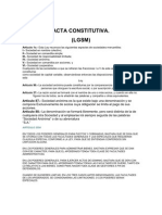 Acta Constitutiva Sociedad Anonima