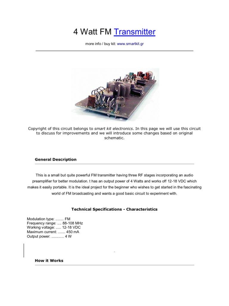 4 watt fm frequency modulation amplifier
