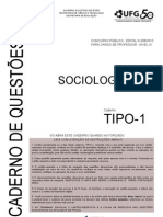 Ufg 2010 Seduc Go Professor Sociologia Prova