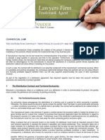Commercial LAW the Distribution Contract Territorial Exclusivity and Product Goodwill