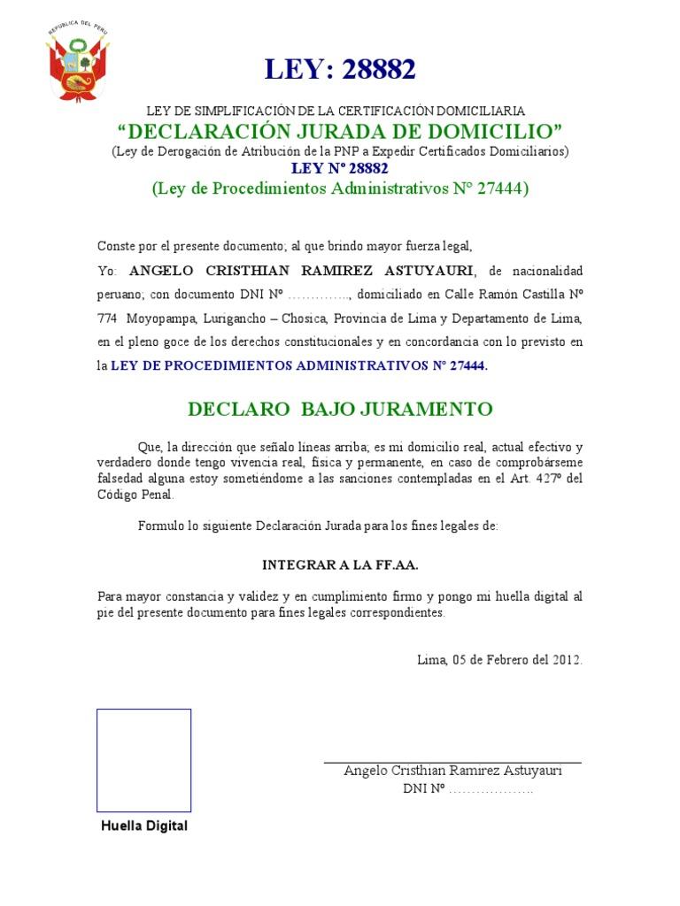 DECLARACIÓN JURADA DOMICILIO