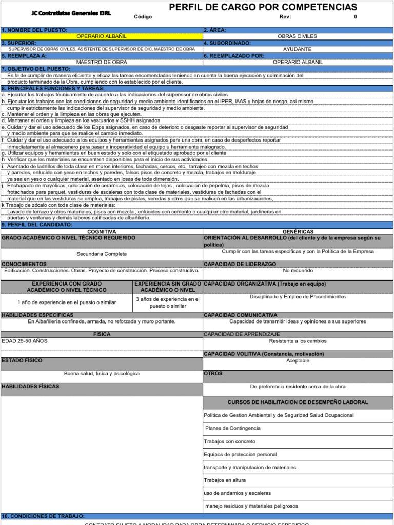 Perfil de cargo por competencias - Operario Albañil