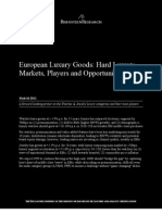 European Luxury Goods; Hard Luxury - Markets, Players, Opportunities
