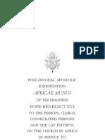 Apostolic Exhortation Africae Munus