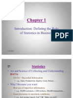 Introduction Defining the Role of Statistics in Business