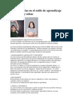 10 Diferencias en el estilo de aprendizaje de niños y niñas