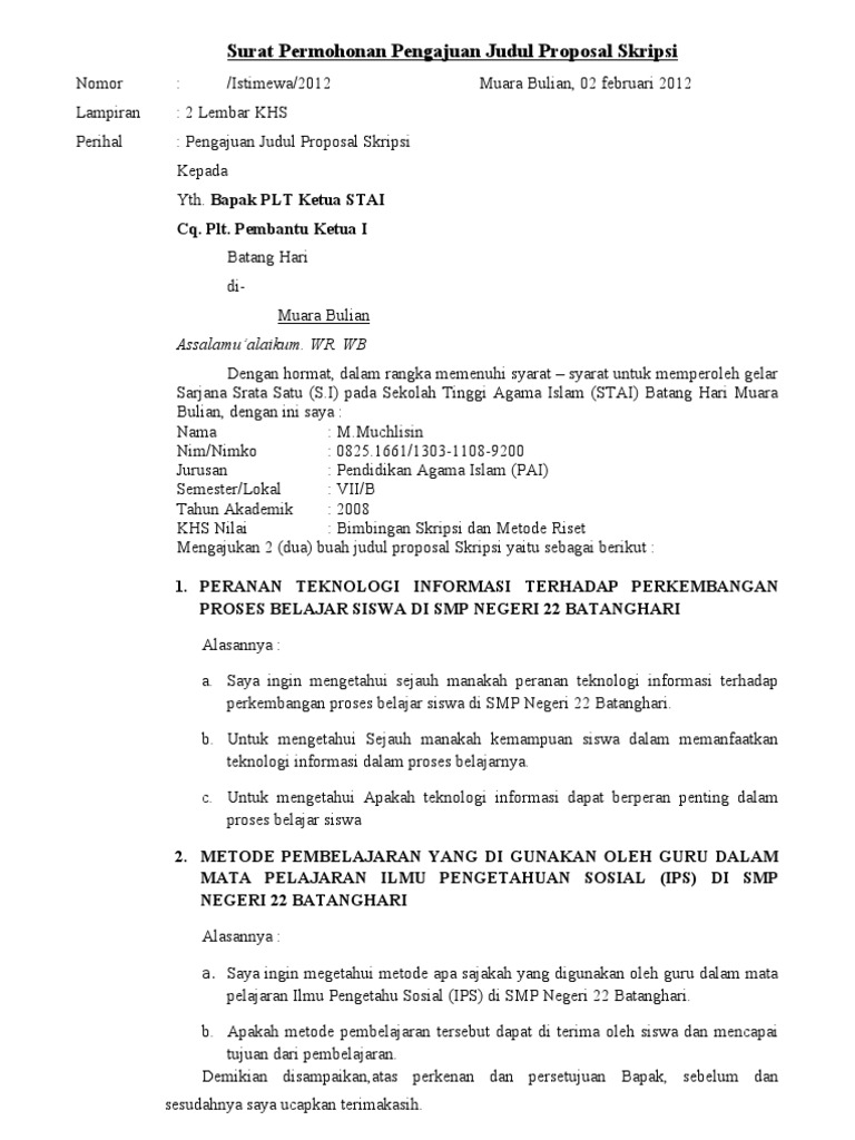 Surat An Pengajuan Judul Proposal Skripsi M Yusuf Helmi