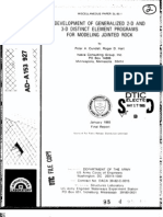 1985 CUNDALL PA Development of Generalized 2-D and 3-D Distinct Element Programs for Modeling Jointed Rock