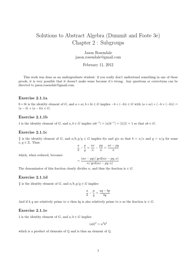 solutions to abstract algebra chapter 2 dummit and foote 3e rh es scribd com Abstract Algebra Problems solution manual abstract algebra dummit foote