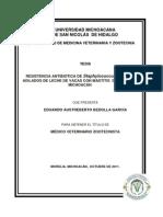 Resist en CIA a de Staphylococcus Aureus Islados de Leche de Vacas Con Mastitis de Tjaro Michoacn