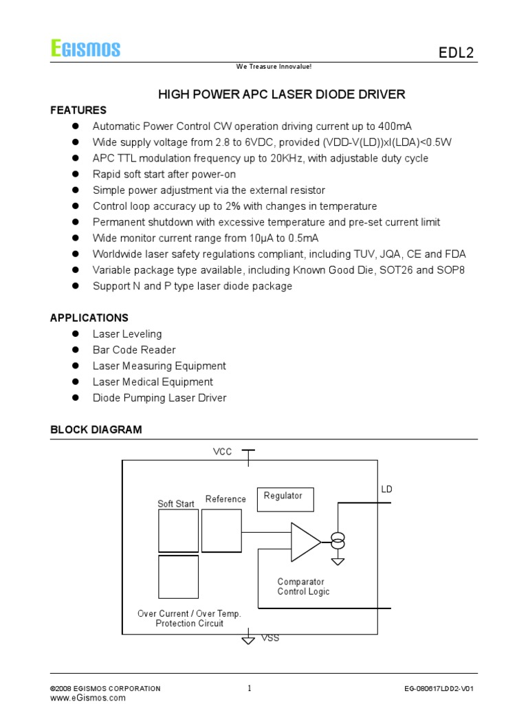 Edl2 0 Power Supply Diode Laser Driver Circuit