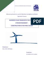 Business plan financier d'un projet d'investissement  construction d'un parc éolien