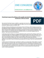 World Zomi Congress Press Release on the Ceasefire Agreement Between Chin National Front and Burmese USDP Government.