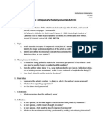 How to Critique a Scholarly Journal Article