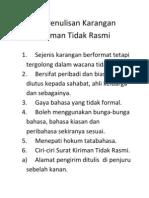 Format Penulisan Karangan Surat Kiriman Tidak Rasmi