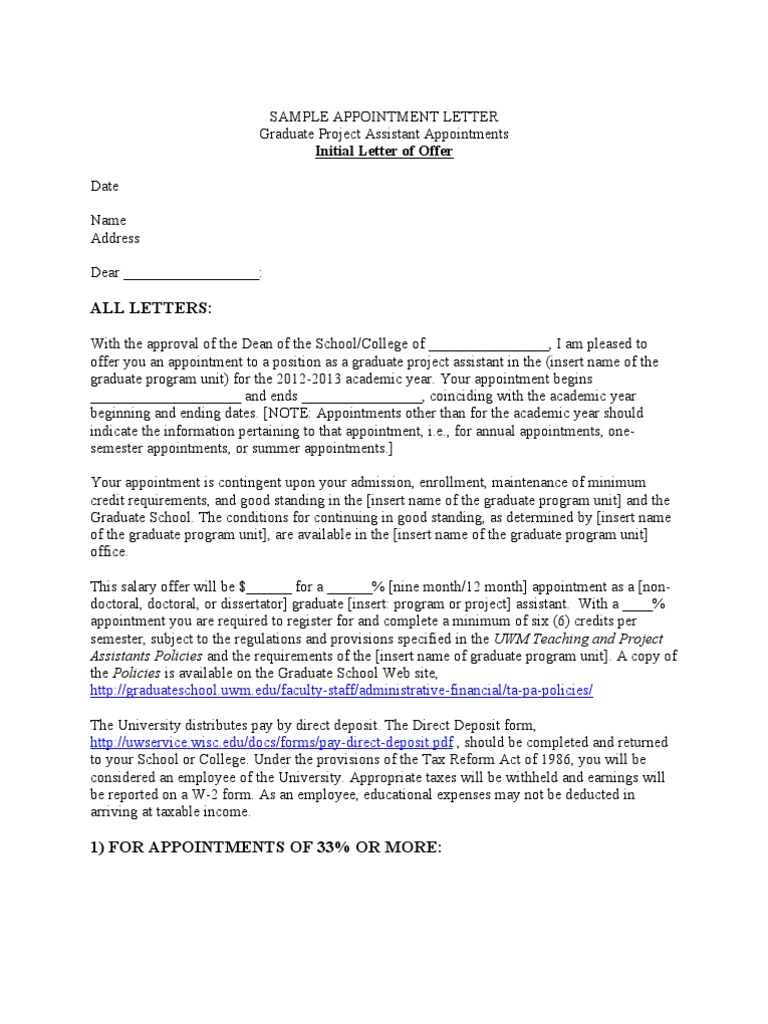 Sample letter of offer project assistant graduate school sample letter of offer project assistant graduate school employee benefits thecheapjerseys Gallery