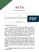 ACTA Comment Détruire La Liberté des Citoyens Internet