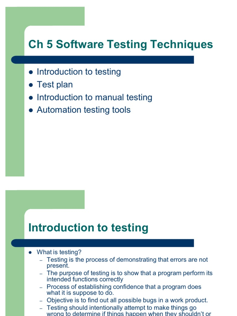 ch 5 software testing techniques